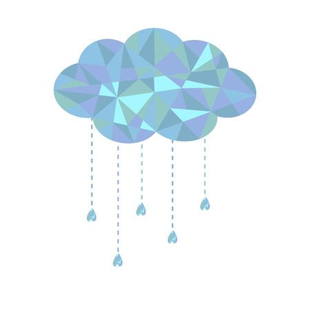Blauwe wolk met opknoping druppels. Veelhoekige effect. Vector illustratie.