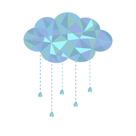 Blue cloud with hanging drops. Polygonal effect. Vector illustration.