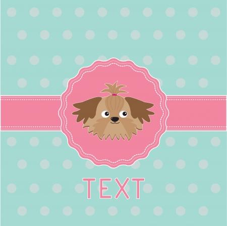 shih tzu: Pink ribbon and label with Shih Tzu dog. Card. Vector illustration.