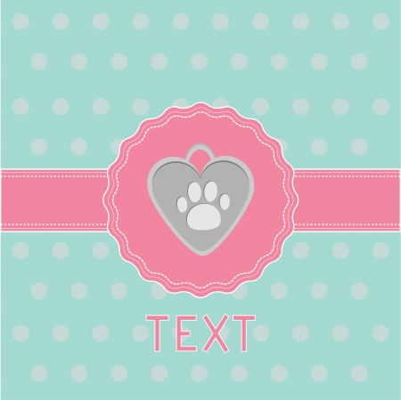 Pink ribbon and label with dog�s pendant.  Card. Vector illustration. Illustration