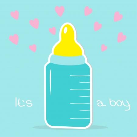 chap: Baby boy bottle. Hearts .Shower card. Vector illustration