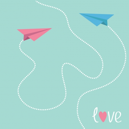 Pink and blue origami paper planes. Dash heart in the sky. Love card. Vector illustration. Vector