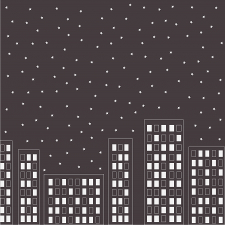 Silhouette of the night city. Stars in the sky. Vector illustration. Vector
