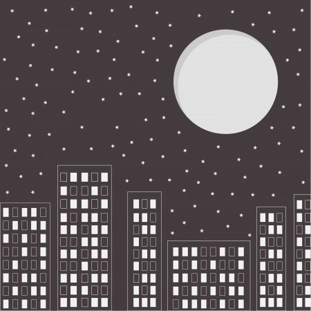 Silhouette of the night city. Stars and big moon in the sky. Vector illustration. Vector