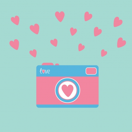 love card: Photo camera with hearts. Love card. Vector illustration.