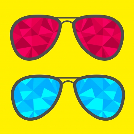 corrective lenses: Set of glasses with blue and red abstract triangles. Polygonal effect. Vector illustration.