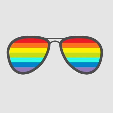 Glasses with rainbow lenses. Isolated icon. Vector illustration. Vector