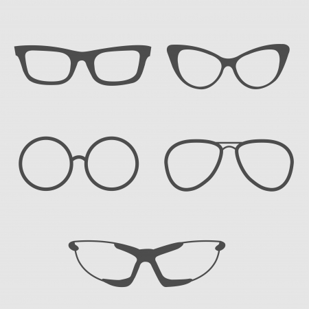 sun glass: Glasses set. Isolated Icons. Vector illustration.