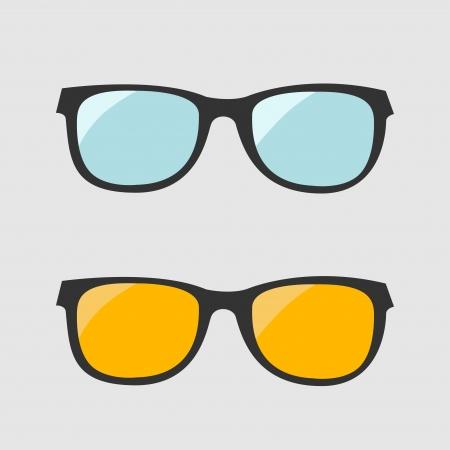 メガネのセットです。青と黄色のレンズ。分離のアイコン。ベクトル イラスト。