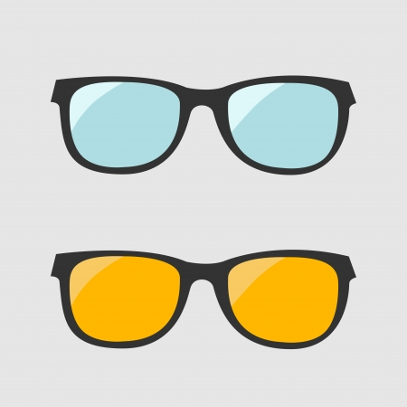 Glasses set. Blue and yellow lenses. Isolated Icons. Vector illustration.