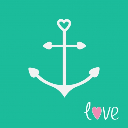 anchor drawing: Anchor with shapes of heart. Love card.  Vector illustration.