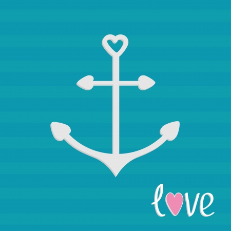 Anchor with shapes of heart. Striped background. Love card. Vector illustration. Vector