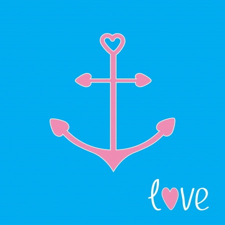 Pink anchor with shapes of heart. Love card.  Vector illustration. Vector