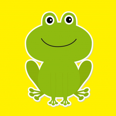 croaking: Cute green cartoon frog. White background. Vector illustration.