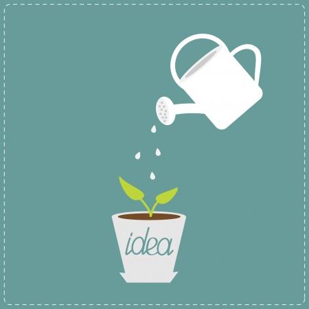 Gieter en plant in de pot. Groeiende idee concept. Vector illustratie.