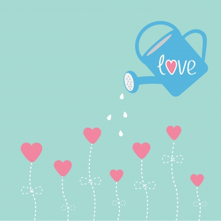 Water can and flowers in shape of heart. Love card. Vector illustration. Vector