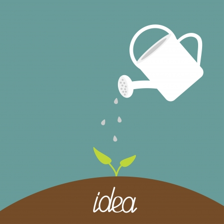 Watering can and plant. Growing idea concept. Vector illustration.