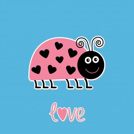 lady bug: Niedlichen Cartoon Pink Lady Bug mit Punkten in Form von Herzen. Liebeskarte. Vektor-Illustration. Illustration
