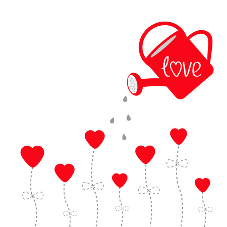 Water can and red flowers in shape of heart. Love card. Vector illustration.