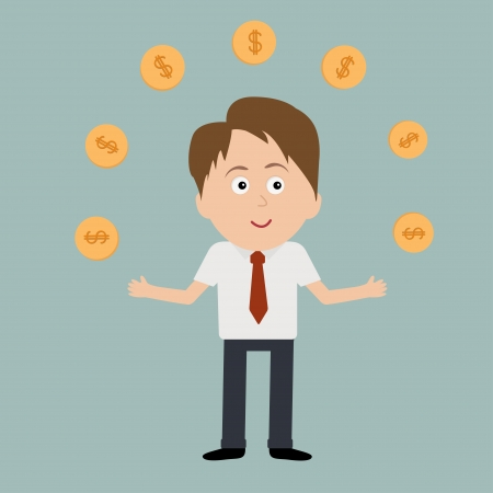 dollar coins: Businessman juggle with dollar coins.. Vector illustration.