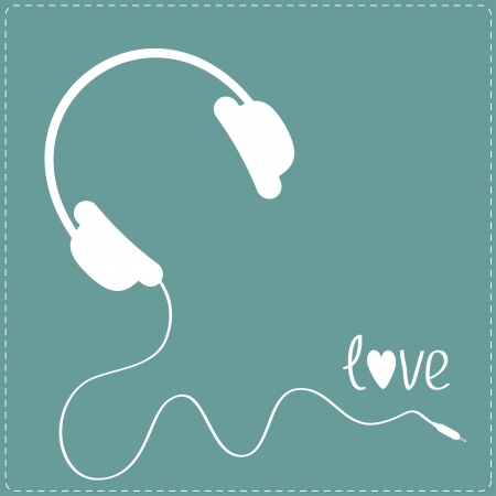 White headphones with cord . Blue background. Dash line.  Love card. Vector illustration.