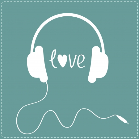 headphones: White headphones with cord. Dash line. Love card. Vector illustration.