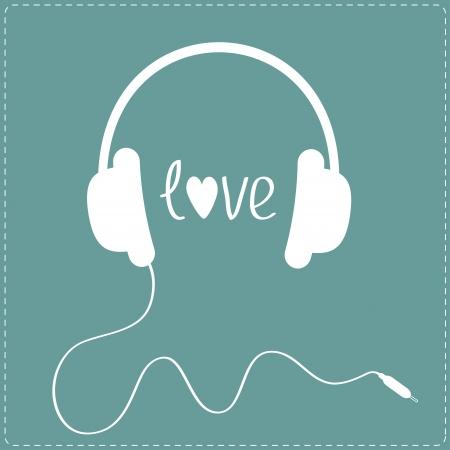 headphones: White headphones with cord. Dash line. Love card. Vector illustration.