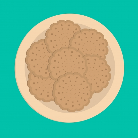 brown rice: Biscuit cookie cracker on the plate. Vector illustration.