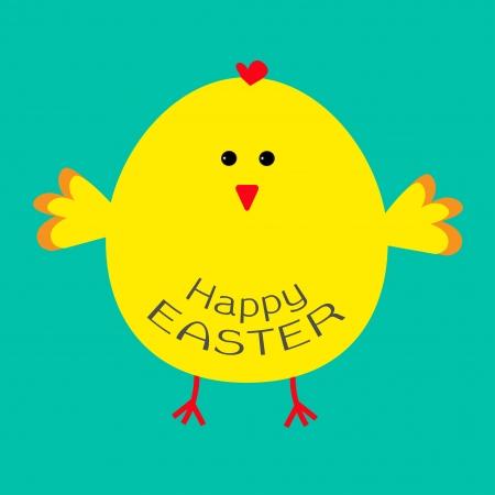Cute easter chicken .  Card. Vector illustration. Illustration