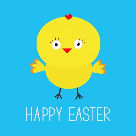 baby chicken: Easter chicken.  Blue background. Card. Vector illustration.