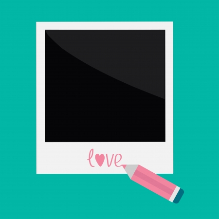 Instant photo and pencil in flat design style. Love card. Vector illustration. Vector