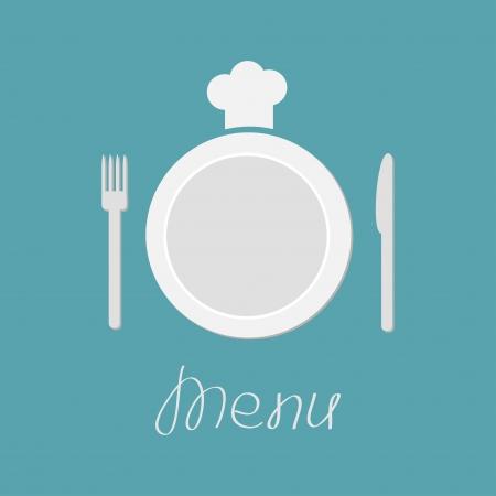 Bord, vork, mes en chef-koks hoed. Menukaart. Platte design stijl. Vector illustratie. Stock Illustratie