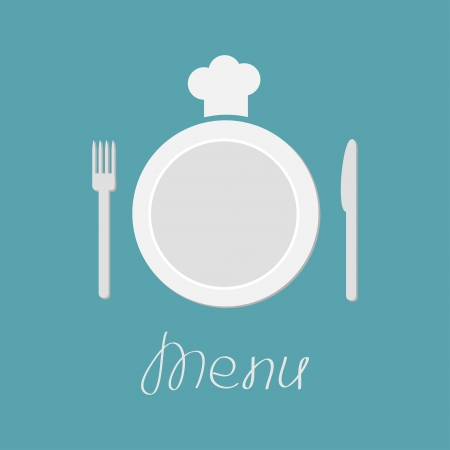 Plate, fork, knife and chefs hat. Menu card. Flat design style. Vector illustration. Vector