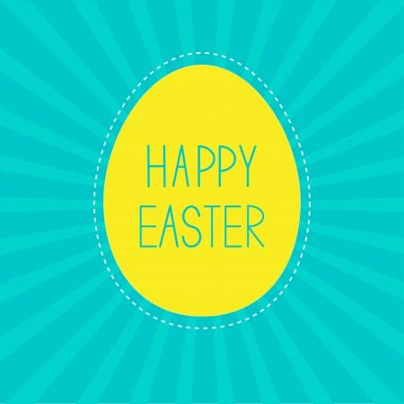Easter yellow egg.  Sunburst background . Card.  Vector illustration. Vector