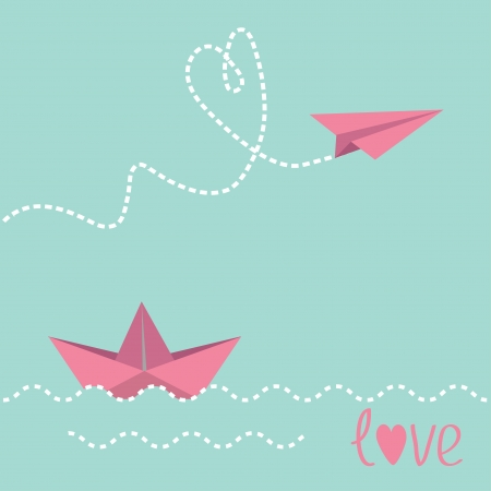Origami paper boat and paper plane.  Vector illustration. Vector