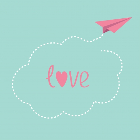 Origami paper plane. Dash cloud in the sky. Love card. Vector illustration. Vector