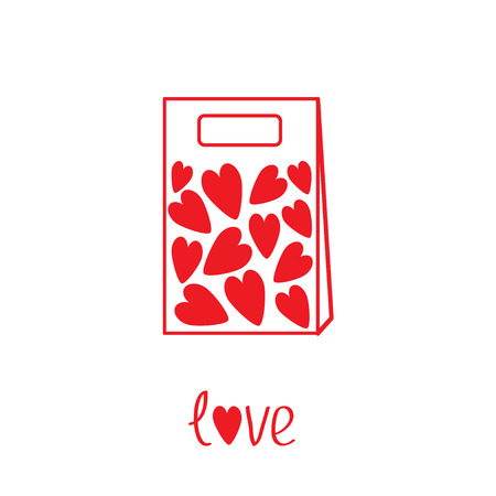 Love paper bag  with hearts inside. Vector illustration.  Card Vector