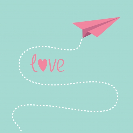 Origami pink paper plane. Dash line in the sky. Love card. Vector illustration. Vector