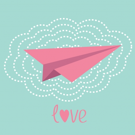 Origami paper plane and big cloud in the sky. Love card. Vector illustration. Vector