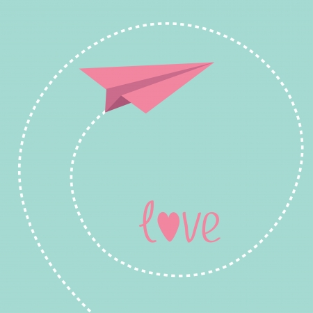 Origami paper plane. Dash spiral in the sky. Love card. Vector illustration. Vector