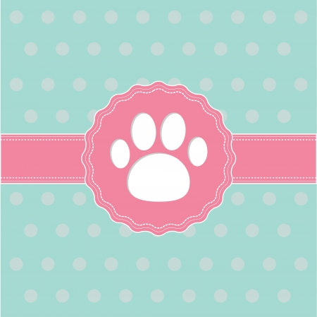 Pink ribbon and label with paw print. Card. Vector illustration. Vector