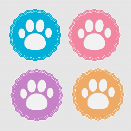Set of four labels with paw print. Card. Vector illustration. Çizim