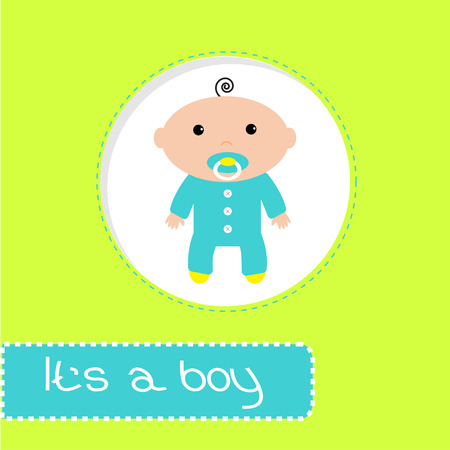 chap: Baby shower card. Its a boy. Vector illustration.