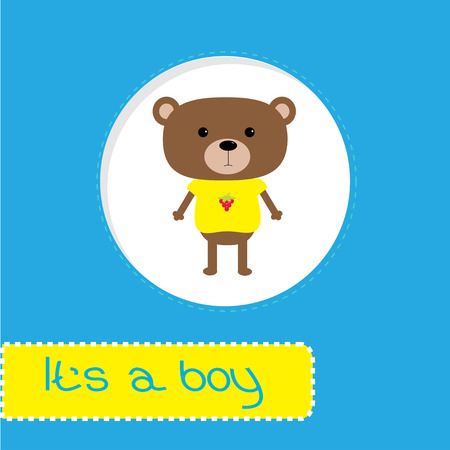 its a boy: Baby shower card with bear.   Its a boy. Vector illustration.