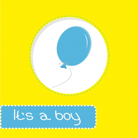 chap: Baby shower card with blue balloon. Its a boy. Vector illustration. Illustration