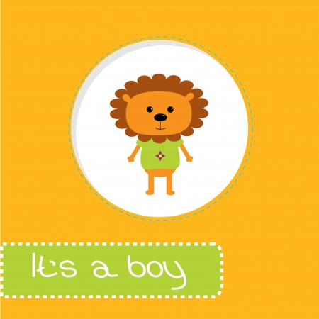 its a boy: Baby shower card with lion. Its a boy. Vector illustration. Illustration