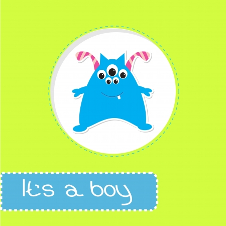 Baby shower card with monster. Its a boy. Vector illustration. Vector