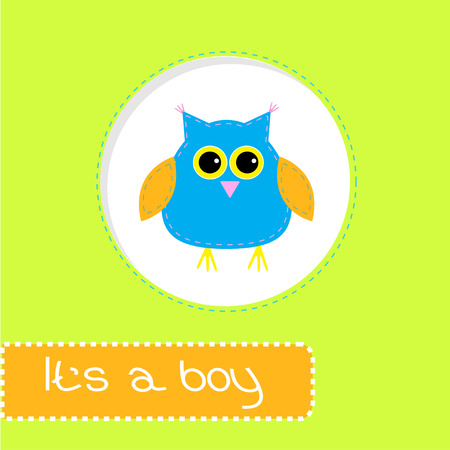 its a boy: Baby shower card with blue owl. Its a boy. Vector illustration.