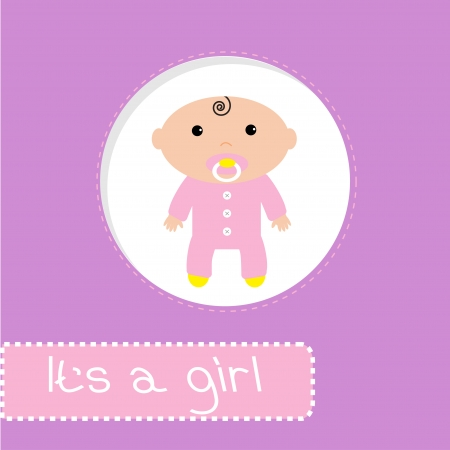 lass: Baby shower card. Its a girl. Vector illustration. Illustration
