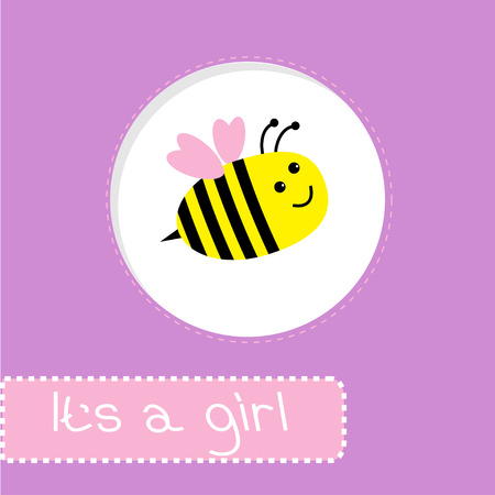 Baby shower card with bee. Its a girl. Vector illustration.